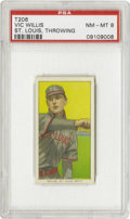 Baseball Cards:Singles (Pre-1930), 1909-11 T206 Vic Willis St Louis Throwing PSA NM-MT 8. HOFer,Willis won twenty-four games for Boston as a rookie in 1898 a...