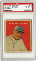 Baseball Cards:Singles (1930-1939), 1932 U.S. Caramel Rogers Hornsby #11 PSA VG-EX 4. The first of four single cards offered in this auction from the tough R32...