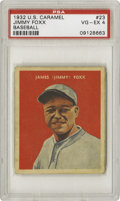 Baseball Cards:Singles (1930-1939), 1932 U.S. Caramel Jimmy Foxx #23 PSA VG-EX 4. A solid candy card for the Beast, who would earn his first of two consecutive...