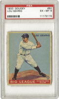 Baseball Cards:Singles (1930-1939), 1933 Goudey Lou Gehrig #92 PSA EX-MT 6. Important card of the Iron Horse is a tough find is a grade this high. Marvelous c...