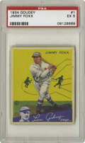 Baseball Cards:Singles (1930-1939), 1934 Goudey Jimmy Foxx #1 PSA EX 5. Whenever a top Hall of Famerappears as the number one card in a set, the odds of findi...