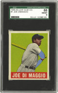 Baseball Cards:Singles (1940-1949), 1948-49 Leaf Gum Co. Joe DiMaggio #1 SGC NM/MT 88. Joltin' Joe getshis rightful due as he leads off the most compelling tr...