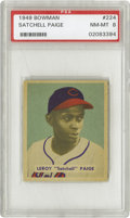 "Baseball Cards:Singles (1940-1949), 1949 Bowman Satchell Paige #224 PSA NM-MT 8. He once said, ""Don'tlook back--someone might be gaining on you,"" but you won'..."