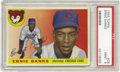 Baseball Cards:Singles (1950-1959), 1955 Topps Ernie Banks #28 PSA Mint 9. A favorite issue for many collectors of 1950's cardboard, due to its landscape forma...
