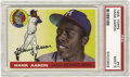 Baseball Cards:Singles (1950-1959), 1955 Topps Hank Aaron #47 PSA Mint 9. An important second-year cardfor the man who would be King. In every regard, this o...