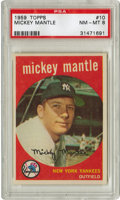 Baseball Cards:Singles (1950-1959), 1959 Topps Mickey Mantle #10 PSA NM-MT 8. It should surprise nobodythat the most valuable name in this 572-card set, the l...