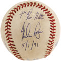 Baseball Collectibles:Balls, 1991 Nolan Ryan Seventh No-Hitter Game Used Baseball, Signed.Setting a mark that will almost certainly never be matched, t...