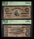 Confederate Notes:1864 Issues, T66 $50 1864 PF-6 Cr. UNL. T68 $10 1864 PF-42 Cr. 551.. ... (Total: 2 notes)