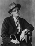 Photographs:20th Century, BERENICE ABBOTT (American, 1898-1991). James Joyce, Paris,1928. Platinum, printed later. 13-3/4 x 10 inches (34.9 x 25....