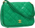 Luxury Accessories:Bags, Chanel Bright Green Lizard Quilted Small Flap Bag. ...