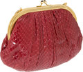 Luxury Accessories:Bags, Judith Leiber Raspberry Lizard Clutch with Cabochon Closure. ...