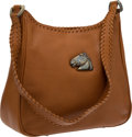 Luxury Accessories:Bags, Kieselstein-Cord Tan Leather Saddle Bag with Sterling Horse Charm....