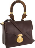 Luxury Accessories:Bags, Anya Hindmarch Brown Leather Wood Handle Flap Bag with Long Strap....