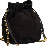 Chanel Black Suede Mini Drawstring Vintage Bag with Classic Chain