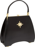 Luxury Accessories:Bags, Kieselstein-Cord Black Leather Rigid Evening Handle Bag. ...