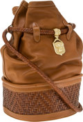Luxury Accessories:Bags, Kieselstein-Cord Tan Leather Drawstring Bag with Woven LeatherBase. ...