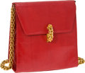 Luxury Accessories:Bags, Paloma Picasso Red Lizard Vintage Evening Bag with Long Chain. ...
