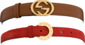 Luxury Accessories:Accessories, Set of 2: Tiffany & Co. Suede Red Belt & Gucci Tan LeatherBelt. ... (Total: 2 Items)