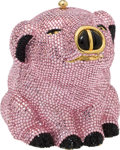 Luxury Accessories:Bags, Judith Leiber Full Bead Pink Piglet Crystal Minaudiere Evening Bag....