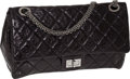 Luxury Accessories:Bags, Chanel Black Antique Leather Maxi Mademoiselle Double Flap Bag withDark Silver Jewel Strap. ...