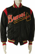 Baseball Collectibles:Uniforms, Early 1950's Milwaukee Braves Game Worn Jacket Attributed to RookieHank Aaron. In an age when the average Major League sal...