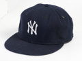 Baseball Collectibles:Uniforms, 1967-68 Mickey Mantle Game Worn Cap. Fine wear on this New York Yankees cap dates from the closing seasons of one of the fi...