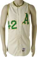 Baseball Collectibles:Uniforms, 1969 Hank Bauer Game Worn Jersey. The twelve-year veteran of the Yankee pinstripes wore this Oakland Athletics flannel vest...