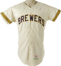 Baseball Collectibles:Uniforms, 1970 Milwaukee Brewers Game Worn Jersey. After a single season in Seattle, the newly-founded Pilots ditched the soggy north...