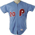 Baseball Collectibles:Uniforms, 1982 Mike Schmidt Game Worn Uniform. Philadelphia finally has a true slugger again in Ryan Howard, but for years it was a r...