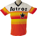 Baseball Collectibles:Uniforms, Mid-1980's Nolan Ryan Game Worn Jersey. Take a vote on the ugliestjersey style in the history of the sport, and this one w...