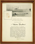 "Transportation:Aviation, Wright Brothers' Plane Fabric Swatch With Lester D. GardnerDocument Signed, framed to an overall size of 8.75"" x 10.75"". Th...(Total: 1 Item)"