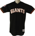 Baseball Collectibles:Uniforms, 1996 Barry Bonds Tour of Japan Game Worn Jersey & 2000 GameWorn Undershirt. Pair of gamers derive from the locker of baseb...(Total: 2 )