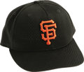 Baseball Collectibles:Hats, Circa 2001 Barry Bonds Game Worn Cap. The controversial mega-slugger topped off his San Francisco Giants uniform with this ...