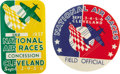 "Transportation:Aviation, Two 1937 Cleveland National Air Races Pin backs. The first, 2 1/2""diameter, is a Field Official's badge in red, white and b...(Total: 2 Item)"