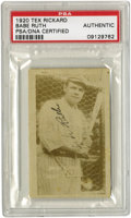 "Autographs:Sports Cards, 1920 Babe Ruth Signed Tex Rickard ""Headin' Home"" Card. Fine exampleof this first trading card to picture the great Bambino..."