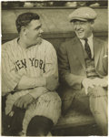 Autographs:Photos, Early 1920's Babe Ruth Signed Photograph. A youthful Babe shares alaugh with a buddy, to whom he signs this crystal-clear ...
