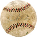 "Autographs:Baseballs, 1920's Babe Ruth Single Signed Baseball. The quotation marks aroundthe ""Babe"" on the sweet spot of this Harwood Official L..."
