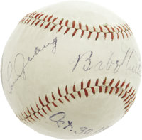 1928 Babe Ruth & Lou Gehrig Signed Baseball. Just three weeks after completing a four-game World Series sweep of the...