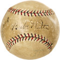 Autographs:Baseballs, Late 1920's Babe Ruth & Lou Gehrig Signed Baseball. Thisdynamic duo's appearance on an OAL ball from the presidency ofErn...