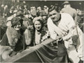 Autographs:Photos, Circa 1932 Babe Ruth Signed Photograph. From the cold weather attire of the ladies in the stands, and the bunting in front ...