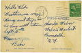 Autographs:Post Cards, August 18, 1947 Babe Ruth Handwritten and Signed Postcard. Charley Weber had his daughter to thank for his incredible baseb...