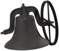 Bronze:American, An American Iron Bell. Unknown Maker, USA. Nineteenth century. CastIron. Yoke marked with 'No. 24 Yoke'. . 24 inches high...