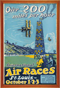 "Transportation:Aviation, Vintage St. Louis International Air Races Poster, by Carl Walter,framed to an overall 15"" x 22"", 1923. This knockout graphi...(Total: 1 Item)"