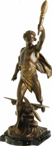 "Transportation:Aviation, Lindbergh Flight Commemorative Bronze Statuette, artist-signed ""E.Jollet"", marked as Made in France, hollow cast with appli...(Total: 1 Item)"