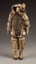 American Indian Art:Cradles and Dolls, AN ESKIMO HIDE AND FUR MALE DOLL. c. 1900. ...