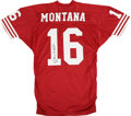 Football Collectibles:Others, Joe Montana Signed Jersey and Oversized Photograph. Joe Cool here has signed both a replica San Francisco 49ers jersey as w...