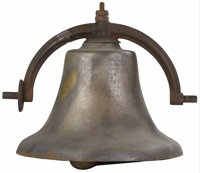 An American Bronze Bell  Unknown Maker, USA Nineteenth century Cast Bronze Unmarked 24 inches high