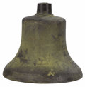General Americana: , An American Bronze Train Bell. Unknown Maker, USA. Nineteenthcentury. Cast Bronze. Unmarked . 12.25 inches high x 10 inch...