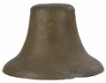 Bronze:American, A Mexican Bronze Bell. Unknown Maker, Mexico. Nineteenth century.Cast Bronze. Marked on top 'Mexico'. 15 inches high x 17...