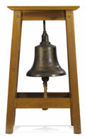 Bronze:American, An American Bronze Ships Bell with Wooden Stand. Unknown maker,USA. Nineteenth century. Cast Bronze. Hallmark on top of b...